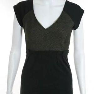 DVF green herringbone short sleeve dress. Size 6